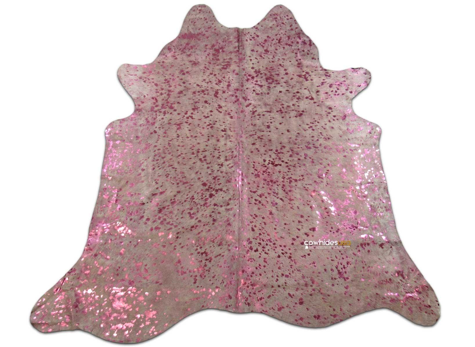 pink metallic cowhide rug size 77 x 7 ft pink metallic on offwhite cow hide skin rug i776