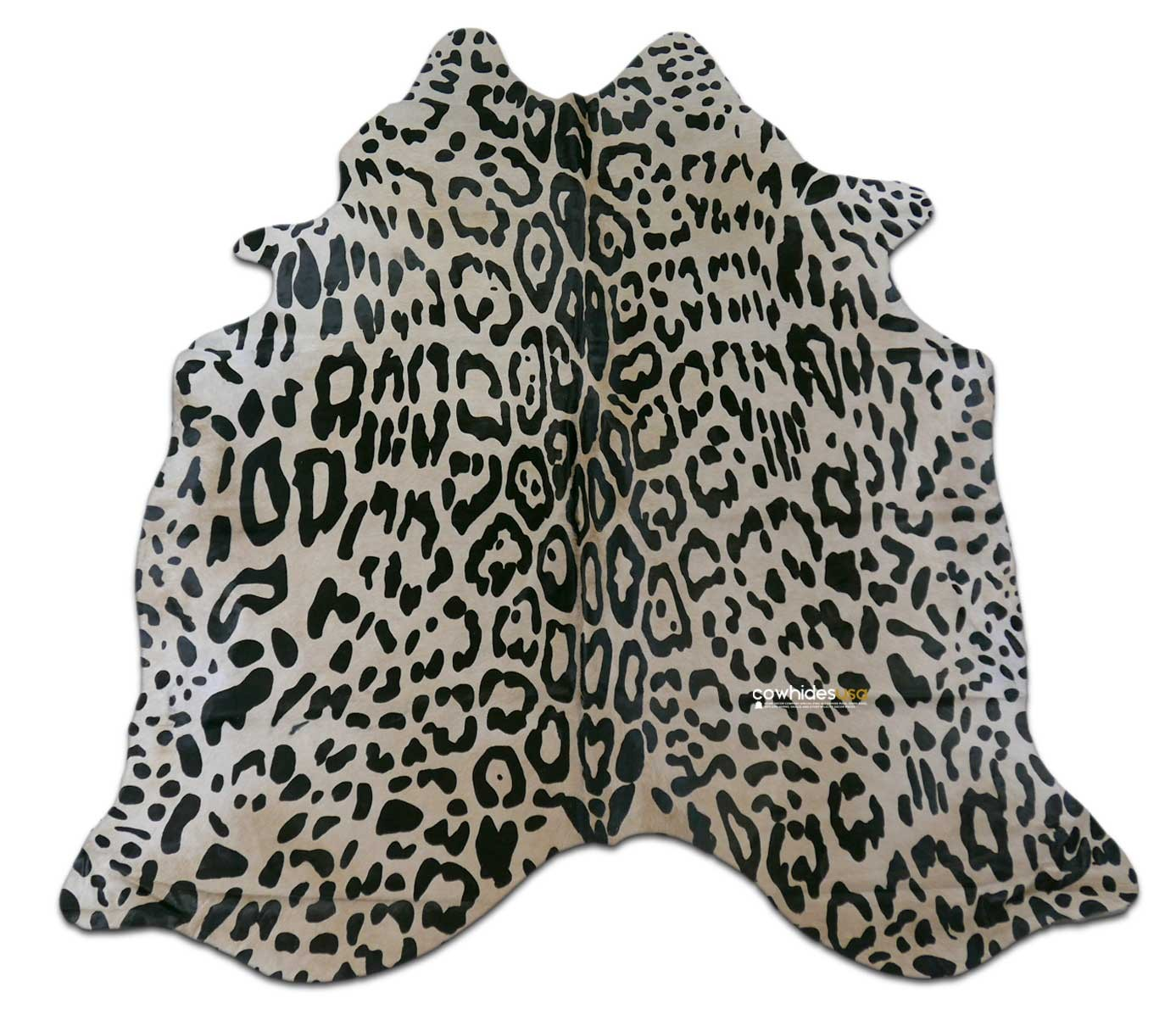 Jaguar Print Cowhide Rug Size: ~6' x 6' ft Jaguar on Off-White Print Cow Hide