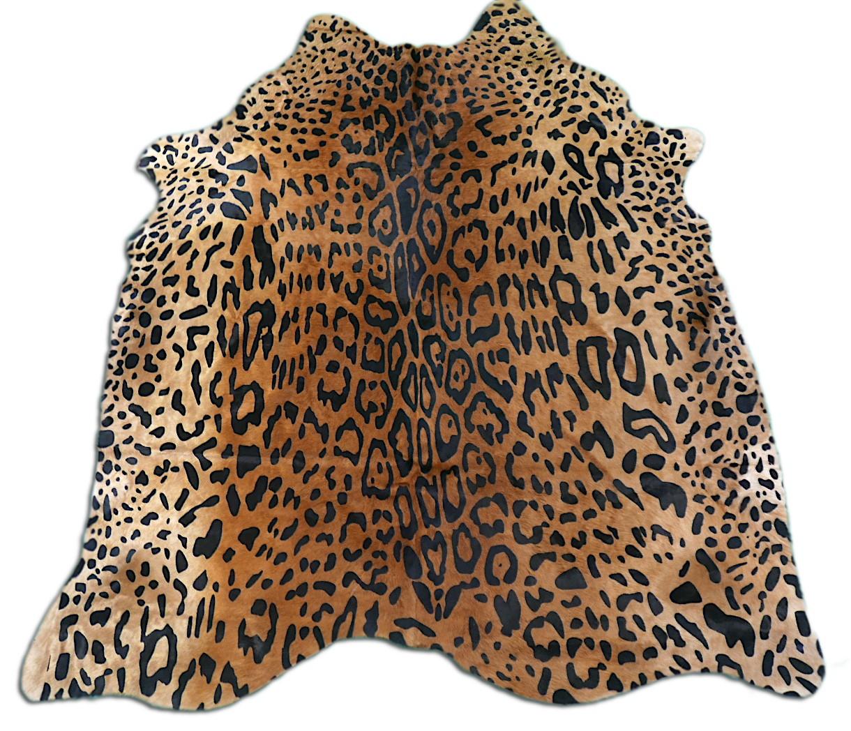 Jaguar Cowhide Rug Size: ~6' x 6' ft Jaguar  Print Cow Hide