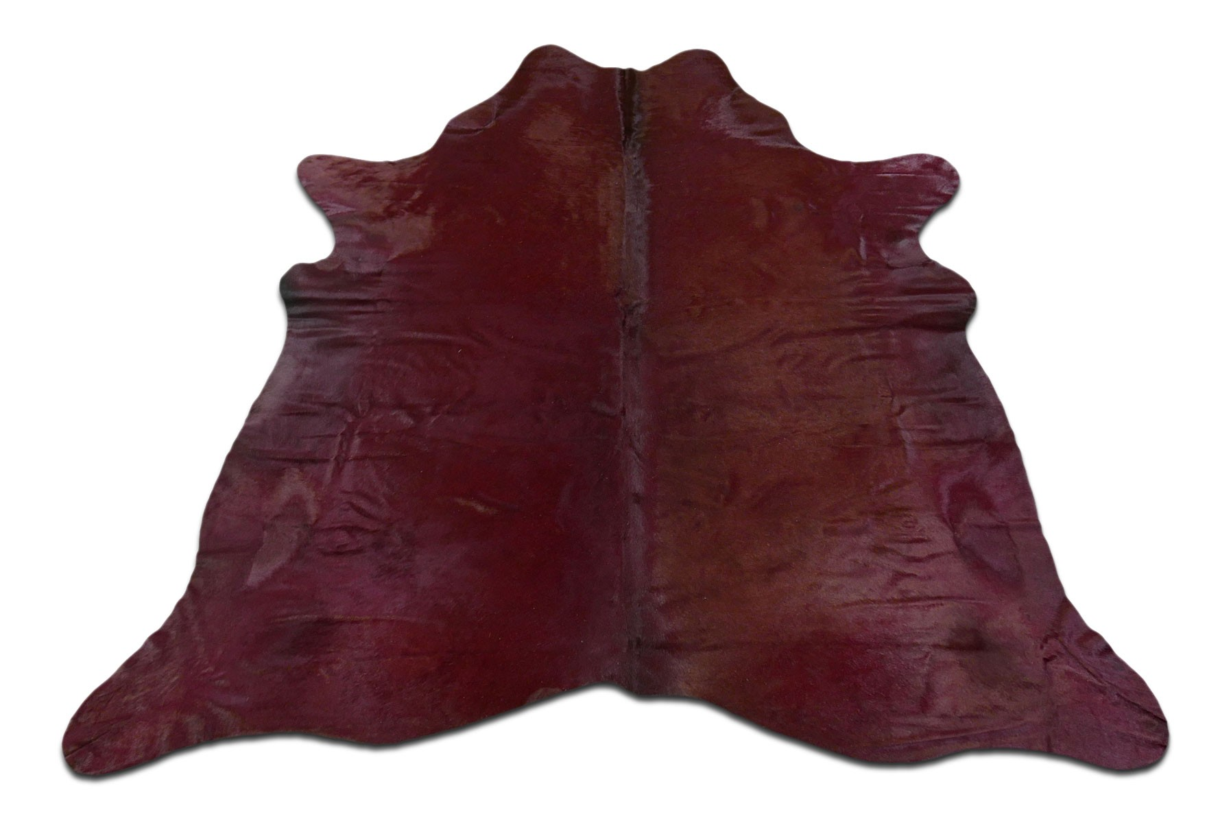 Dyed Burgundy Cowhide Rugs Size: ~7 X 7 ft Dyed Burgundy Cowhide Rugs