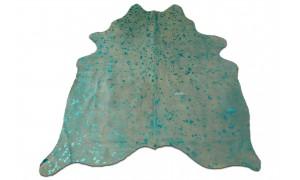 Turquoise Metallic Cowhide Rug Size: ~5 X 5 Turquoise Acid Wash Cowhide Rugs