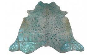 Turquoise Metallic Cowhide Rug Size: ~6 'X 7' Turquoise Acid Wash Cowhide Rugs