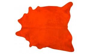 Dyed Orange Cowhide Rugs Size: ~7 X 7 ft Dyed Orange Cowhide Rugs