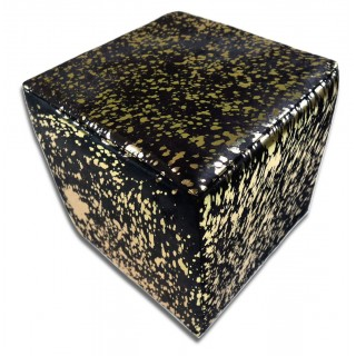 Metallic Cowhide Ottoman Gold Metallic on Black Cow hide Cube Furniture