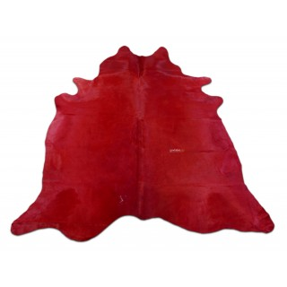 New Red Cowhide Rug Size: 7 X 6.5 ft Solid Dyed Red Cow Hide Skin Rug D-908