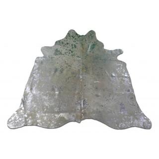 Silver Metallic Cowhide Rug Size 7' X 7' ft  Metallic Acid Washed Silver Cow Hide Rug