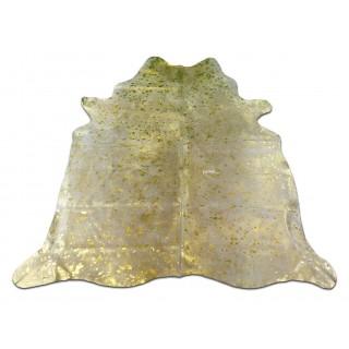 Metallic Gold Cowhide Rug Size: ~ 7' x 7' Gold Metallic on white Cow Hide