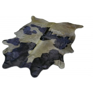 Dyed Olive Cowhide Rug Size: 7.3' X 6.7' Dyed Olive Black / White Cow Hide i-506
