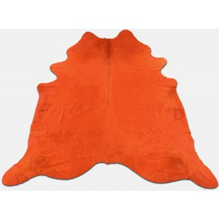 Dyed Orange Cowhide Rugs Size: ~7 X 7 ft Dyed Orange Cowhide Rugs