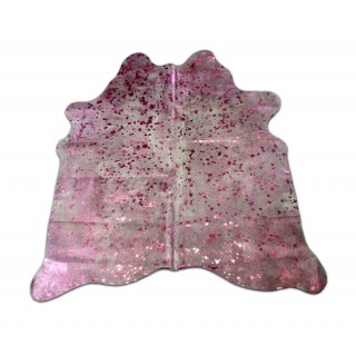 Pink Cowhide Rug Size: ± 6' X 6' Pink Metallic on Off-White Cow Hide Rugs