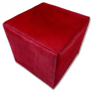 """Cowhide Ottoman Cube 16X16X16"""" Burgundy Cowhide Dyed Red Leather Furniture"""