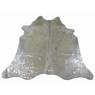 Silver Cowhide Rug Size:~ 5' X 5' Silver Metallic Cow Hides