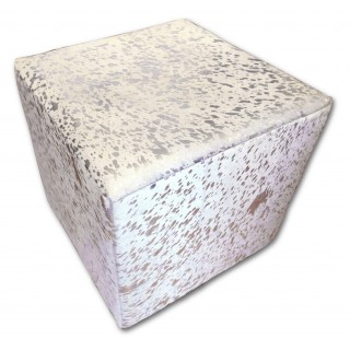 Metallic Cowhide Ottoman Footstool White With Silver Cowhide Furniture Cube