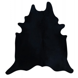 Dyed Black Cowhide Rugs Size: ~7 X 7 ft Dyed Black Cowhide Rugs