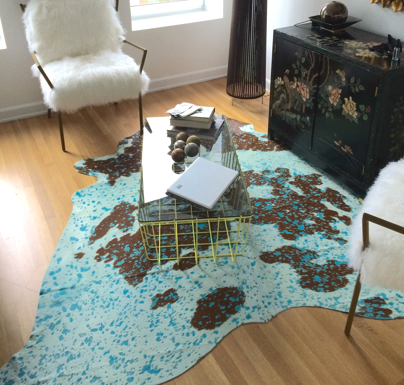 Turquoise Cowhide Rug
