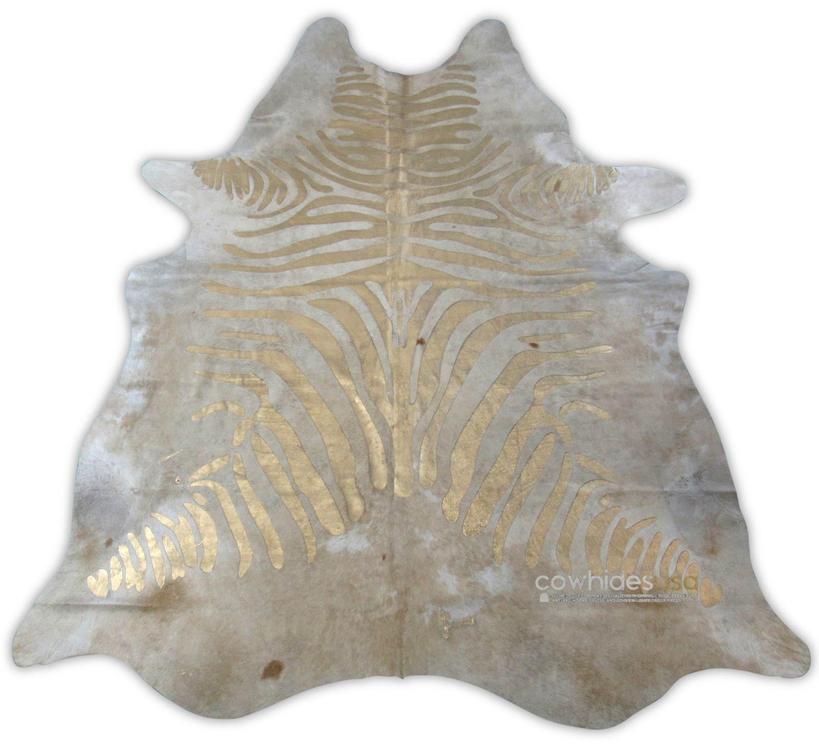 More Views Metallic Zebra Printed Cowhide Rug