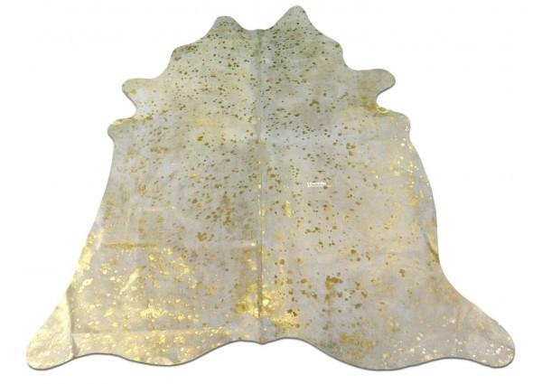 Metallic Gold Cowhide Rug Size: ~ 5' x 5' Gold Metallic on White Cow Hide
