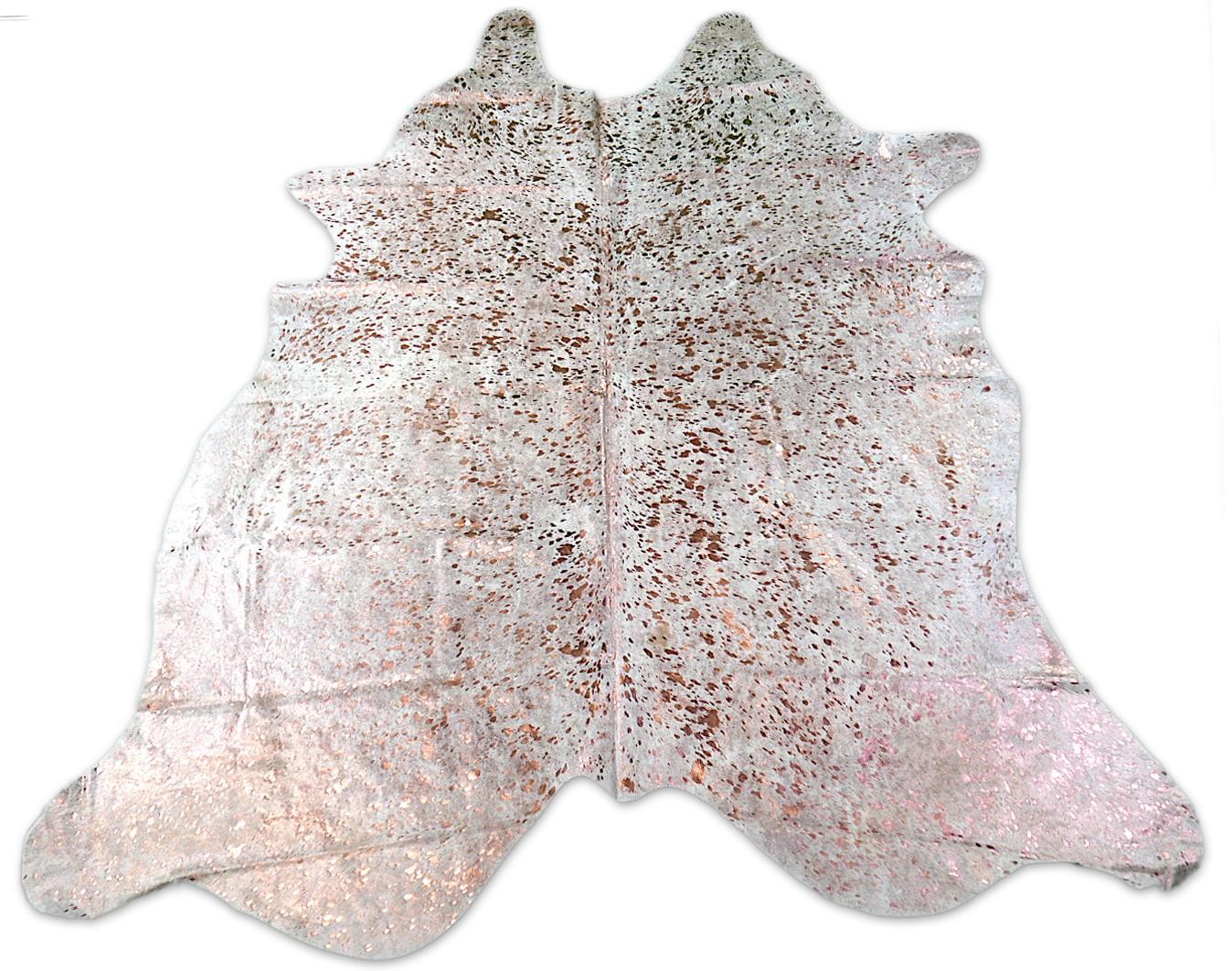 Rose Gold Metallic Cowhide Rug Size: ~7' X 7' Gold Metallic Cowhide