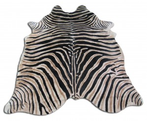 Genuine Zebra Print Cowhide Rug Size~7' x 6' ft Zebra Printed Cowhide Rug