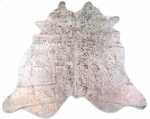 Rose Gold Metallic Cowhide Rug Size: ~7' X 7' Gold Metallic Cowhide