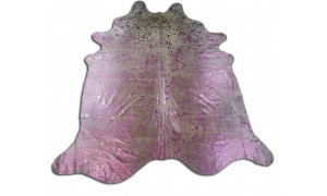 Pink Cowhide Rug Size: ± 6' X 7' Pink Metallic on Off-White Cow Hide Rugs