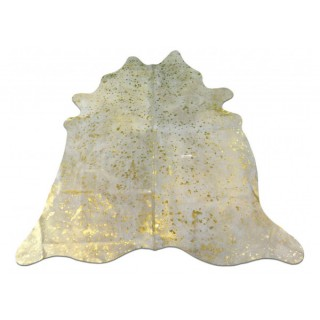 Metallic Gold Cowhide Rug Size: ~ 5' x 5' Gold Metallic on White Cow Hide