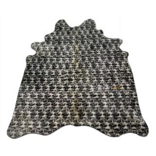 Tweed Print Cowhide Rug Size: 7X5.3 ft Tweed Pattern Silk Screen Cow Hide i-662