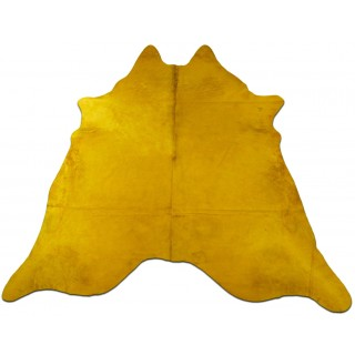 Dyed Yellow Cowhide Rugs Size: ~7 X 7 ft Dyed Yellow Cowhide Rugs